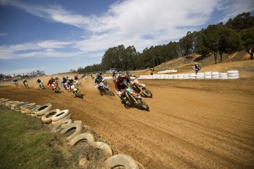 Tye and the 250 EXC-F grabbing the holeshot in the A4DE E1 Final Moto!