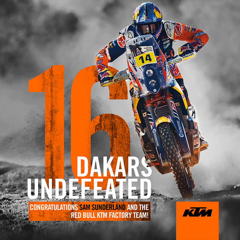 16 DAKARS UNDEFEATED – SAM SUNDERLAND LEADS THREE-WAY PODIUM FOR KTM